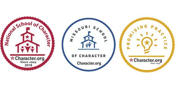 National School of Character Award, Missouri School of Character Award, and Promising Practice Award